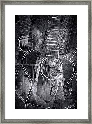 Country Cubist Guitar Framed Print by Randall Nyhof
