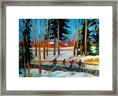 Country Hockey Rink Framed Print by Carole Spandau