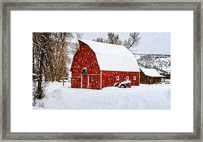 Country Holiday Barn Framed Print by Teri Virbickis
