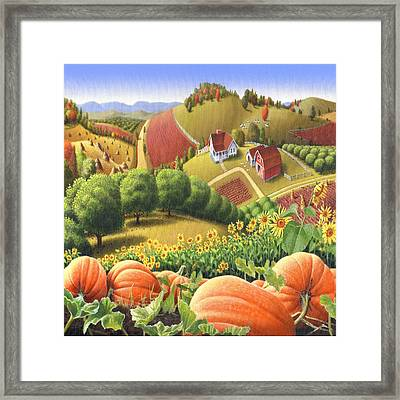 Country Landscape - Appalachian Pumpkin Patch - Country Farm Life - Square Format Framed Print by Walt Curlee
