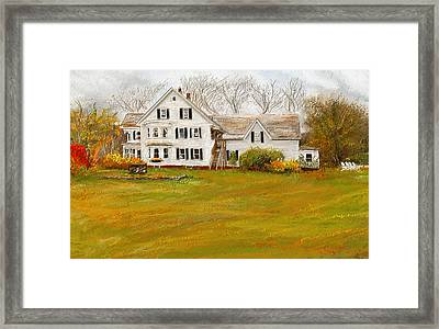 Country Moments-farmhouse In Woodstock Vermont Framed Print by Lourry Legarde
