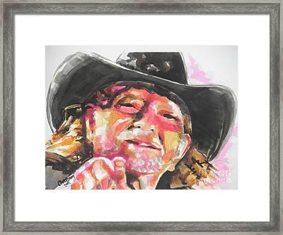 Country Music Artist...willie Nelson Framed Print by Chrisann Ellis