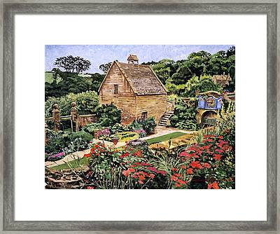 Country Stone Manor House Framed Print by David Lloyd Glover