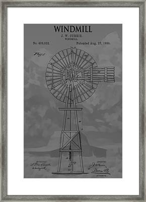 Country Windmill Patent Framed Print by Dan Sproul