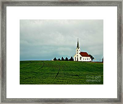 Country Zion Lutheran Church Across Nebraska Wheat Field Framed Print by Erin Theisen