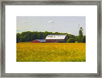 Countryside Landscape With Red Barns Framed Print by Ben and Raisa Gertsberg