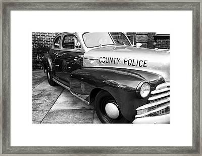 County Police In Black And White Framed Print by John Rizzuto