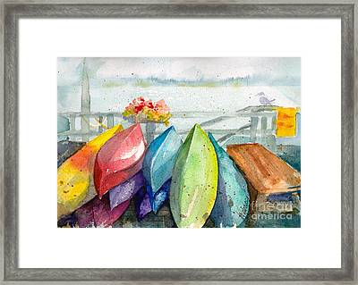 Coupeville Canoes Framed Print by Judi Nyerges