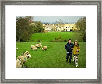 Couple With Dog On Cotswold Way Trail Through Green Pastures Near Broadway Village England Framed Print by Robert Ford