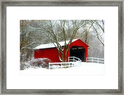 Cover Bridge Beauty Framed Print by Peggy  Franz
