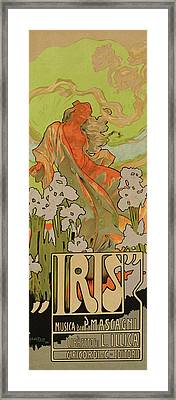 Cover Of Score And Libretto For Iris Framed Print by Adolfo Hohenstein