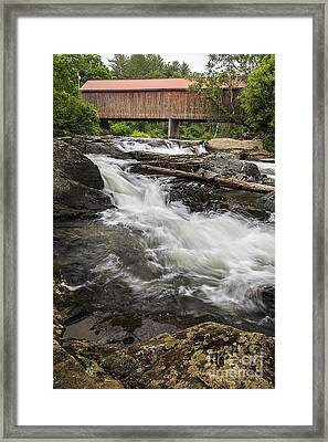 Covered Bridge And Waterfall Framed Print by Edward Fielding