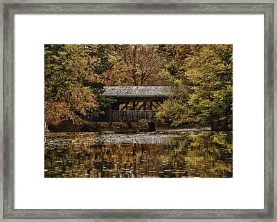 Covered Bridge At Sturbridge Village Framed Print by Jeff Folger