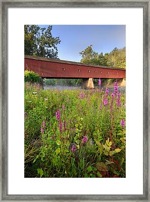 Covered Bridge West Cornwall Framed Print by Bill Wakeley