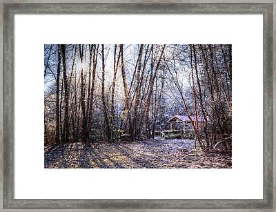 Covered Bridge In The Winter Framed Print by Debra and Dave Vanderlaan