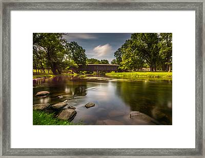 Covered Bridge Long Exposure Framed Print by Randy Scherkenbach