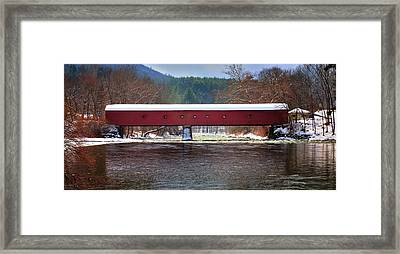 Covered Bridge Of West Cornwall-winter Panorama Framed Print by Thomas Schoeller