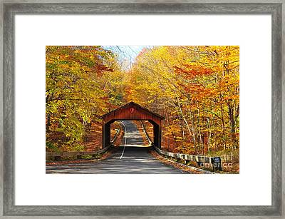 Covered Bridge On Pierce Stocking Scenic Drive Framed Print by Terri Gostola
