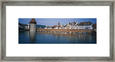 Covered Bridge Over A River, Chapel Framed Print by Panoramic Images