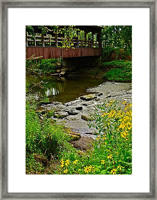 Covered Bridge Framed Print by Frozen in Time Fine Art Photography