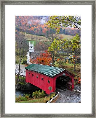 Covered Bridge-west Arlington Vermont Framed Print by Thomas Schoeller