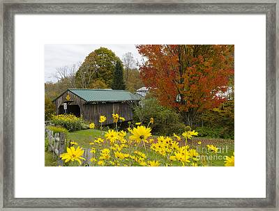 Covered Bridge With Fall Foliage Framed Print by Bill Bachmann