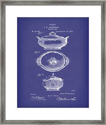 Covered Dish 1894 Patent Art Blue Framed Print by Prior Art Design