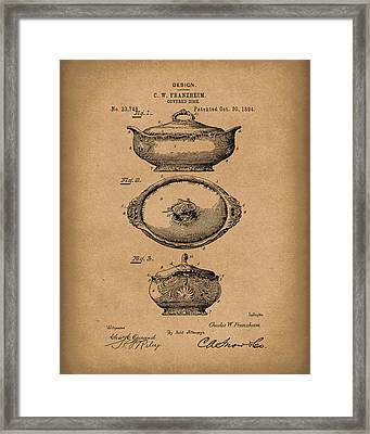 Covered Dish 1894 Patent Art Brown Framed Print by Prior Art Design