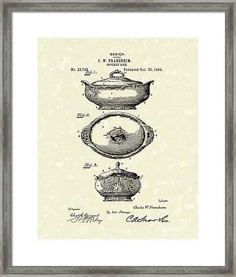 Covered Dish 1894 Patent Art Framed Print by Prior Art Design
