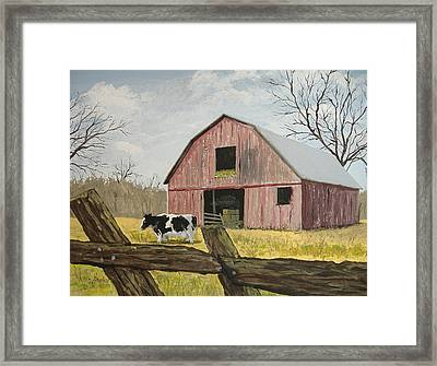 Cow And Barn Framed Print by Norm Starks