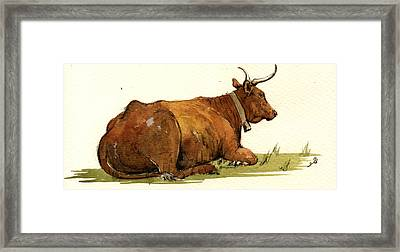Cow In The Grass Framed Print by Juan  Bosco