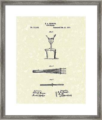 Cow Milker 1871 Patent Art Framed Print by Prior Art Design