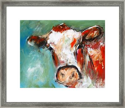 Painting Of Cow Bovine Wall Art  Framed Print by Mary Cahalan Lee- aka PIXI