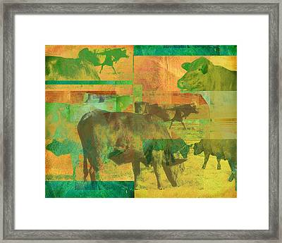 Cow Pasture Collage Framed Print by Ann Powell