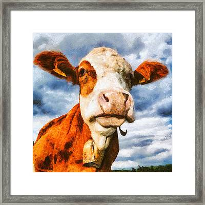 Cow Portrait Painting Framed Print by Matthias Hauser
