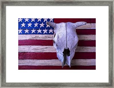 Cow Skull On American Flag Framed Print by Garry Gay