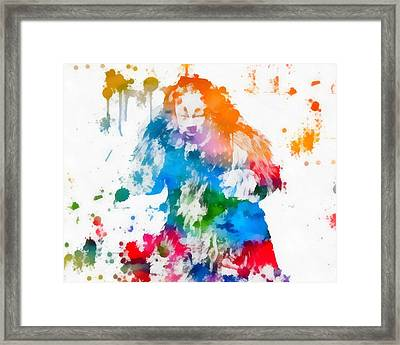 Cowardly Lion Wizard Of Oz Paint Splatter Framed Print by Dan Sproul