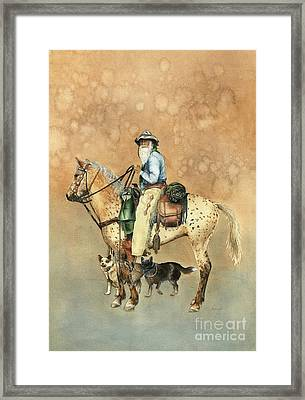 Cowboy And Appaloosa Framed Print by Nan Wright