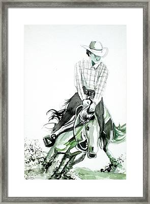 Cowboy At The Rodeo Framed Print by Fabrizio Cassetta