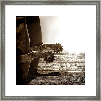 Cowboy Boots And Riding Spurs Framed Print by Olivier Le Queinec