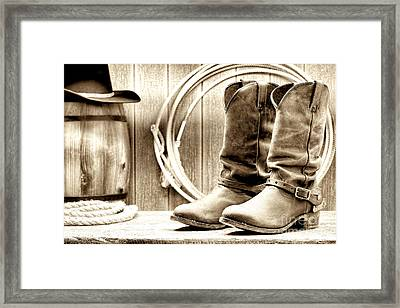 Cowboy Boots Outside Saloon Framed Print by Olivier Le Queinec