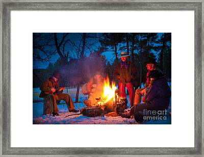 Cowboy Campfire Framed Print by Inge Johnsson