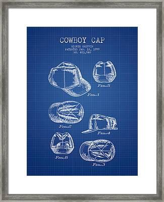 Cowboy Cap Patent - Blueprint Framed Print by Aged Pixel