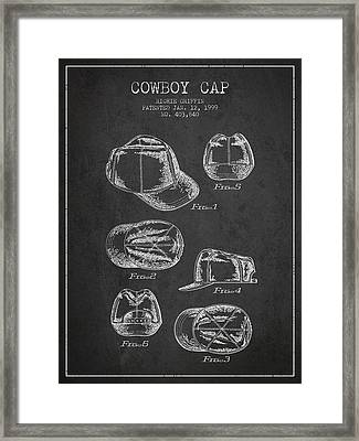 Cowboy Cap Patent - Charcoal Framed Print by Aged Pixel