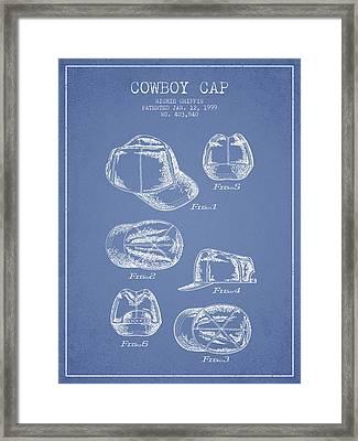 Cowboy Cap Patent - Light Blue Framed Print by Aged Pixel