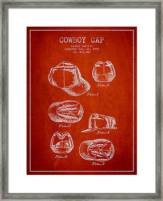 Cowboy Cap Patent - Red Framed Print by Aged Pixel