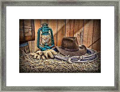 Cowboy Hat And Rodeo Lasso Framed Print by Paul Ward