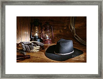 Cowboy Hat And Tools Framed Print by Olivier Le Queinec