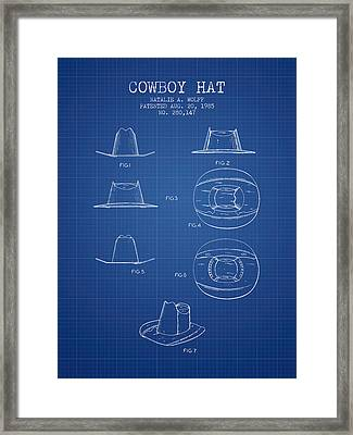 Cowboy Hat Patent From 1985 - Blueprint Framed Print by Aged Pixel