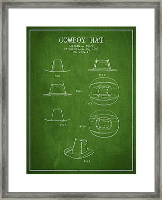Cowboy Hat Patent From 1985 - Green Framed Print by Aged Pixel